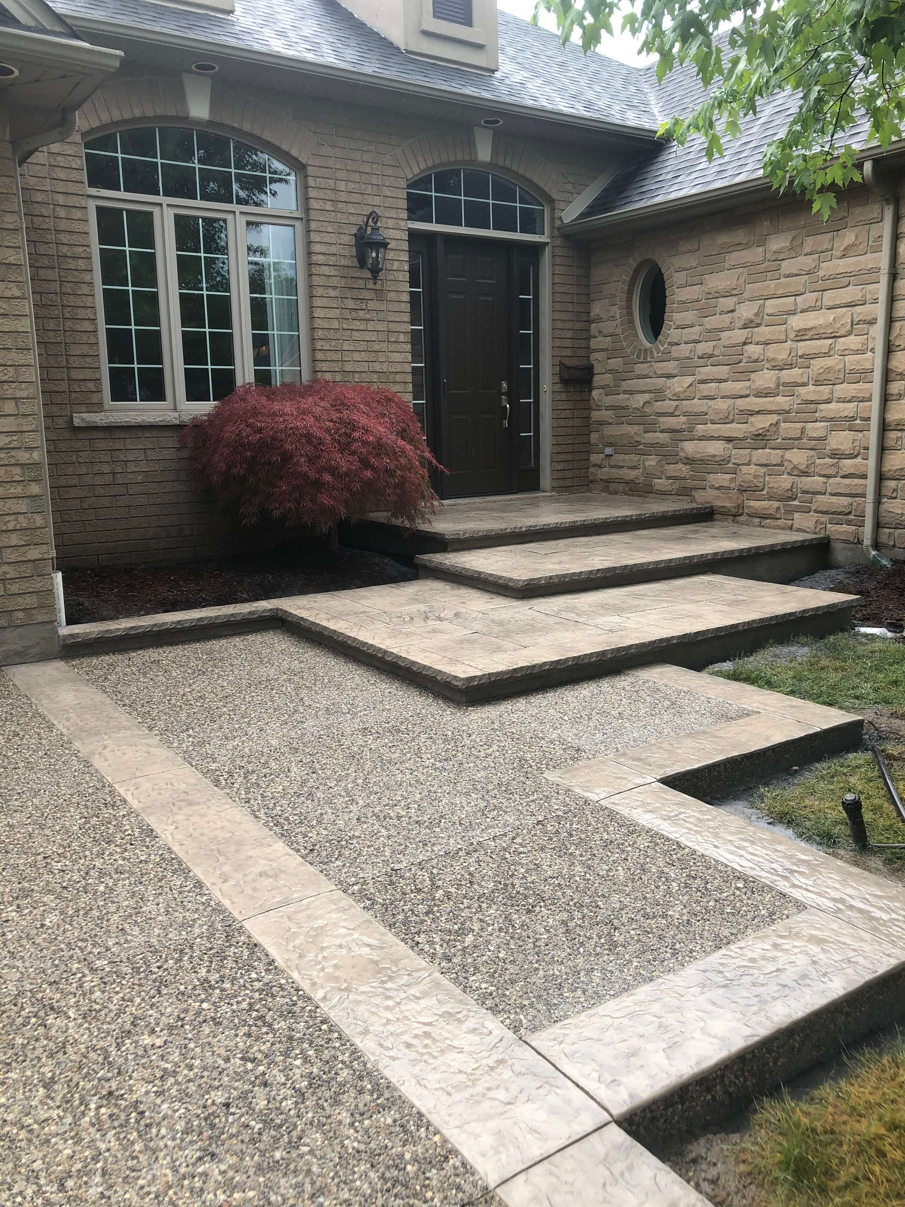 Landing staircase, Beige Cream and Natural Exposed Aggregate
